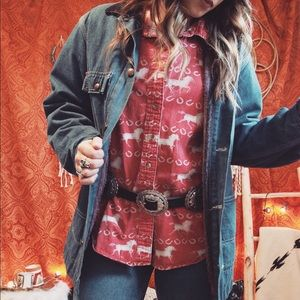 Vintage Western Horseshoe Button Up